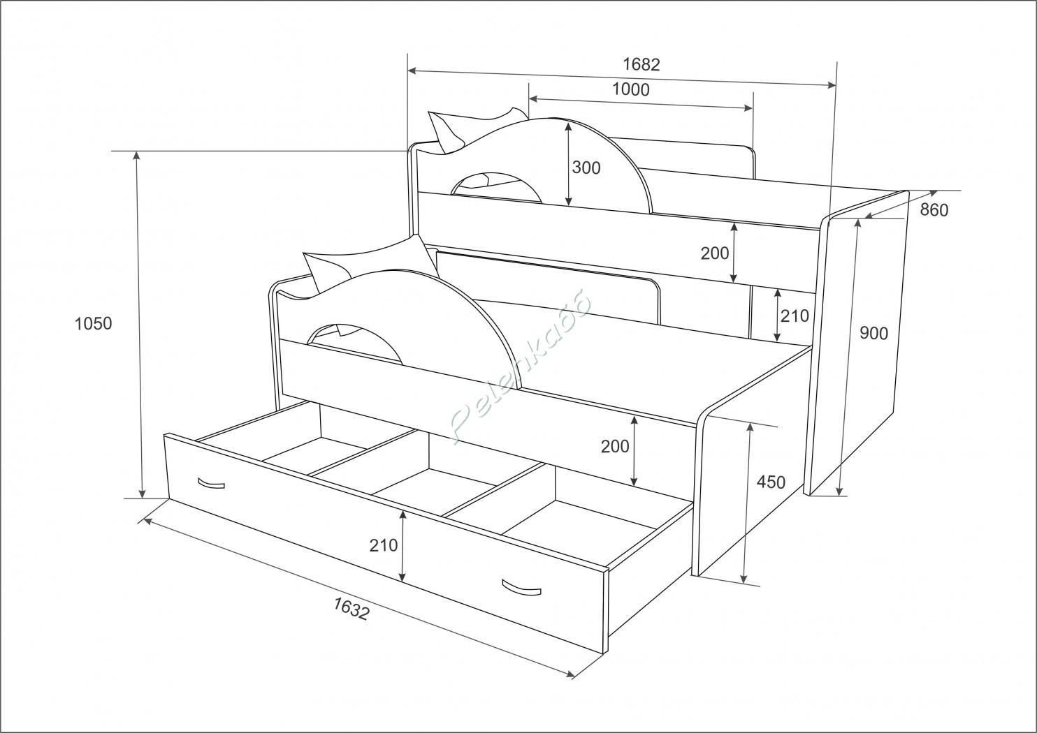 Кровать с выдвижным спальным местом своими руками чертежи 58
