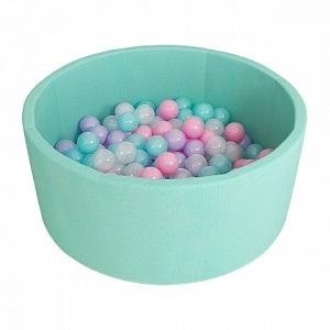 Детский сухой бассейн (бирюзовый с серыми шариками)